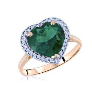 14k Gold Ring w/ Diamonds & Lab. Created Emerald